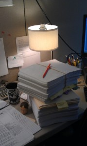 Barrys Desk Manuscript Pile