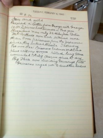 Photo, 1945 diary page. Details about weather, and news of World War II
