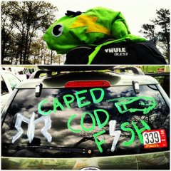 Van decorated for Jillian's race with her relay team, the Caped Cod Fish