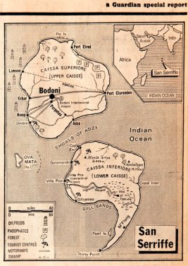 Map of San Serriffe, from the Guardian special report Guardian